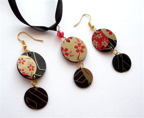 Japanese Handmade - japanese jewelry set handmade of recycled plastic sushi