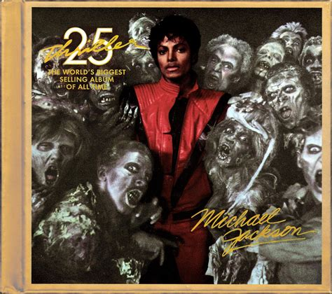 Thriller 25th Anniversary Edition Album Cover Michael Jackson Works With Akon Fergie William Kanye West For 212 Re Release by Michael Jackson Thriller 1982 Cd Dvd 2008 25th