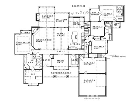 ranch house blueprints eplans prairie house plan hill country fusion ranch style 3258 square and 4 bedrooms