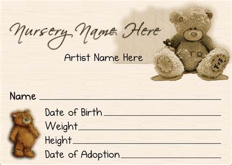 reborn birth certificate template 6 best images of teddy birth certificate teddy