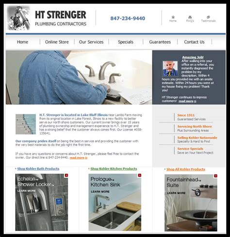 Ht Strenger Plumbing electronic media services inc web site design search