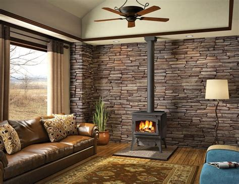 wood stove ideas living rooms wood stove with ledgestone back wall living room inspiration wall ideas and stove