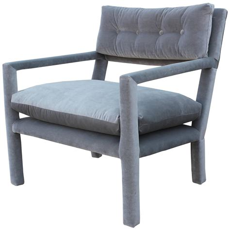 Grey Parsons Chair by Fabulous Pair Of Milo Baughman Style Parsons Grey Velvet