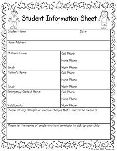 child information card template student information sheet idea for when parents