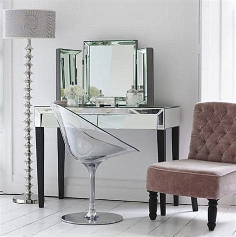 Mirrored Make Up Vanity by Adding Shine With Mirrored Furniture