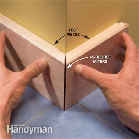 how to cut angles in front corners of hair how to install baseboard molding even on crooked walls the family handyman