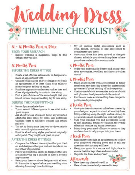 Printable Wedding Checklist With Timeline by Awesome Wedding Dress Planning Timeline Free