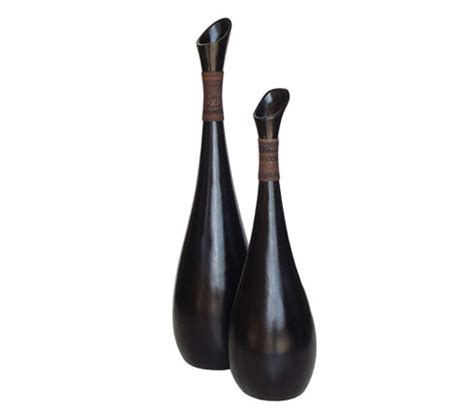 Large Black Floor Vase by Black Floor Vase With Abaca Lacor Furniture
