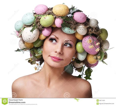 easter time avarde look hairstles easter woman spring smiley girl with eggs stock image
