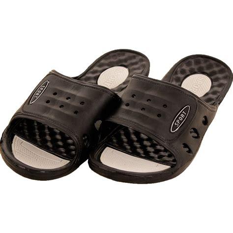 shower shoes mens vented cushion sandals slip on flip flop sport slide
