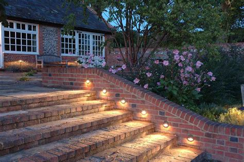 Backyard Solar Lighting Ideas Exteriors Lighting Ideas Deck Railing Lighting And Deck Step Lighting With Together With Brick