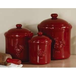 amazon com set of 3 french tuscan red swirl ceramic tuscan red s 3 ceramic ribbed canister set kitchen fan