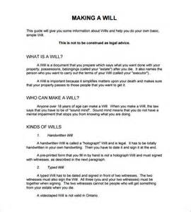 free last will and testament form template sle last will and testament form 8 exle format