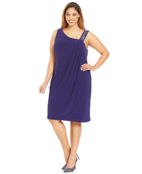 betsy adam plus size beaded one shoulder dress in blue lyst