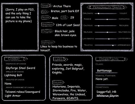 skyrim character templates skyrim character template arctus tharn by bluecharizard1