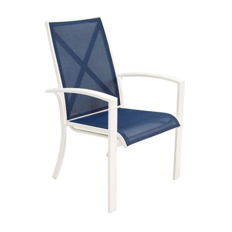 Stackable Aluminum Patio Chairs Shop Allen Roth Set Of 4 Park White Sling Seat Aluminum Stackable Patio Dining Chairs At
