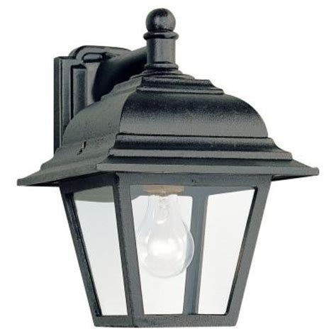 Sea Gull Lighting Bancroft 1 Light Black Outdoor Wall Outdoor Light Fixtures Home Depot