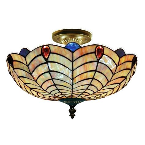 style shell semi flush ceiling light fixture