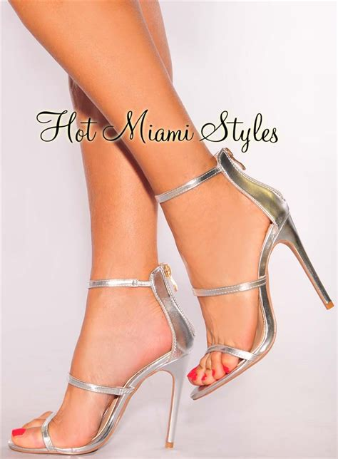 Faux Leather High Heel Sandals silver faux leather high heel sandals