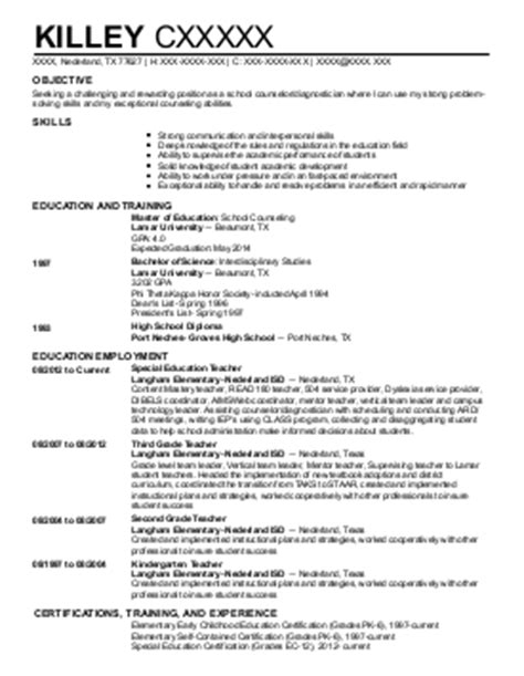 C Counselor Resume by Middle School Resume Exles Education And Resumes Livecareer