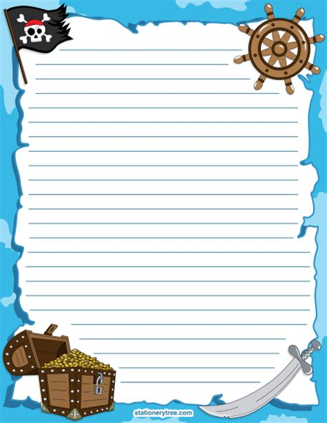 pirate writing paper printable pirate stationery