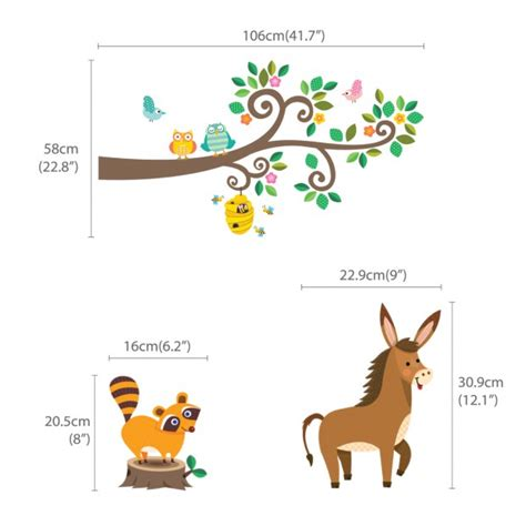 scroll tree wall sticker scroll tree and branches with animals wall stickers