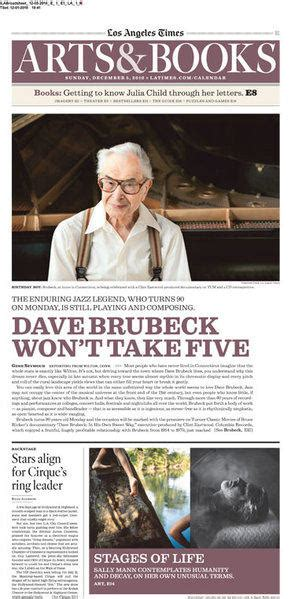 los angeles times calendar section from the archives dave brubeck at 90 i m very fortunate