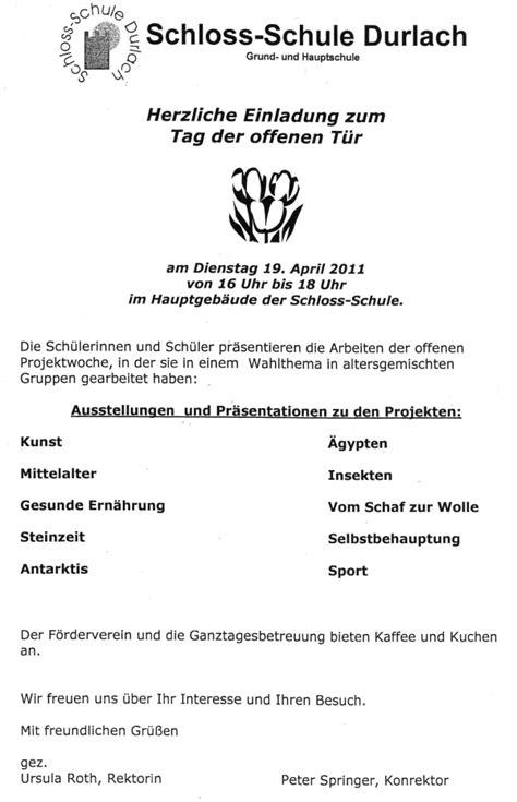 Muster Einladung Elternabend Schule Schloss Schule Durlach