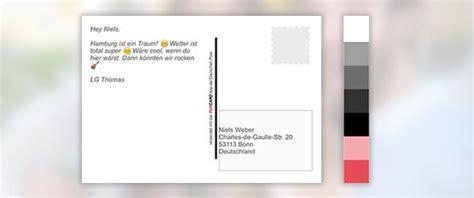Postkarten Drucken Mit Adresse by Postkarten App Funcard Foto Als Postkarte Verschicken