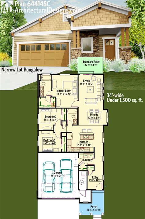 plan 64414sc narrow lot bungalow in 2018 house plans