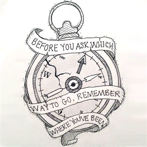 motivational compass tattoo design