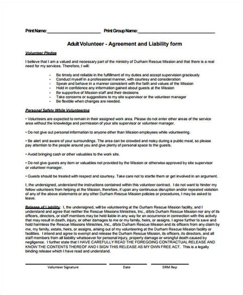Service Agreement Forms Volunteer Service Agreement Template