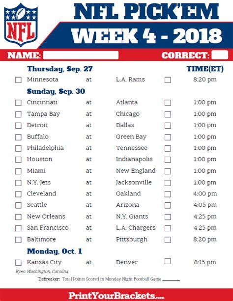 Printable Nfl Schedule Pick Em | printable nfl week 4 schedule pick em pool 2018