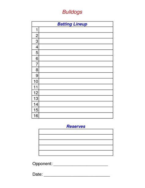 softball batting order template softball batting order template sle templatex1234