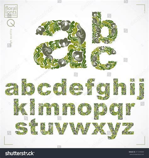 design pattern typescript floral font handdrawn vector lowercase alphabet stock
