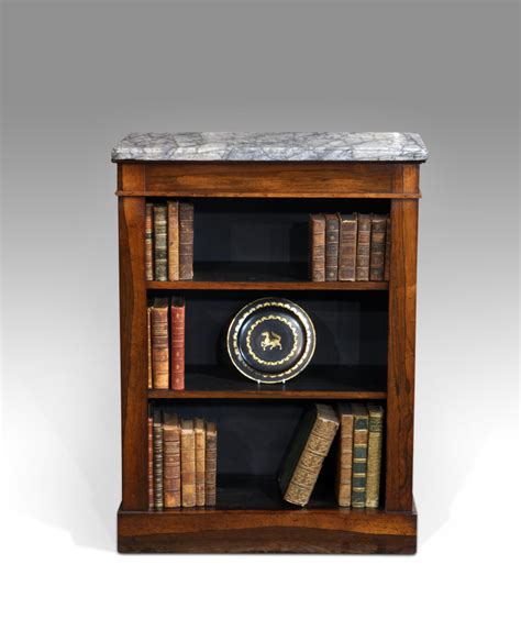 Small antique bookcase, marble top bookcase : Antiques UK
