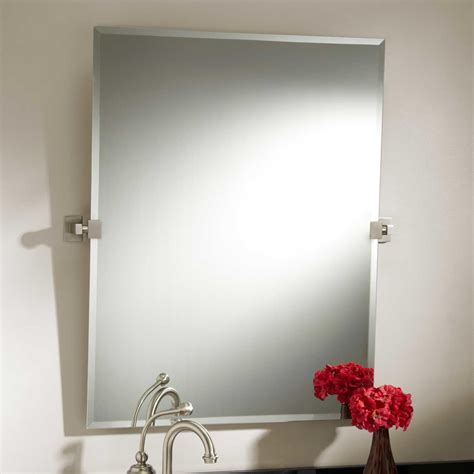 fresh unique bathroom mirror in brushed nickel 20733