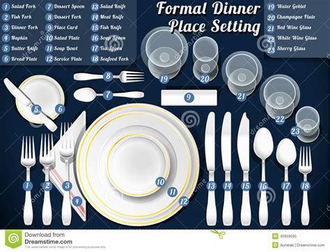 formal dinner place setting set of place setting formal dinner stock vector image