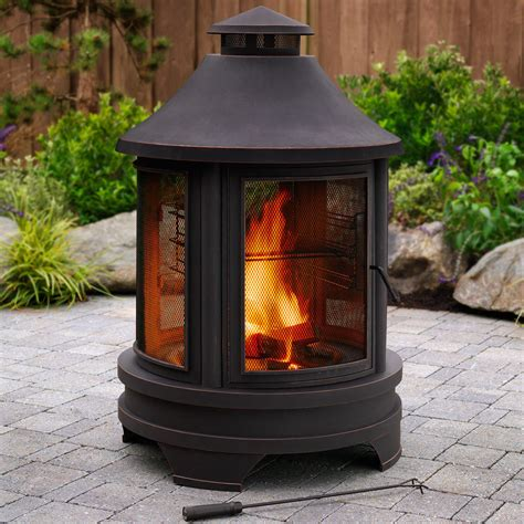 Log Burner Chiminea Patio Garden Outdoor Pit Burner Log Heater Bbq Grill