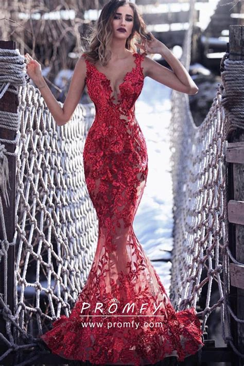 glamorous   red lace mermaid floor length formal