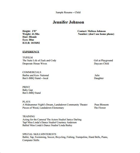 child actor resume template acting resume template 8 free word excel pdf format
