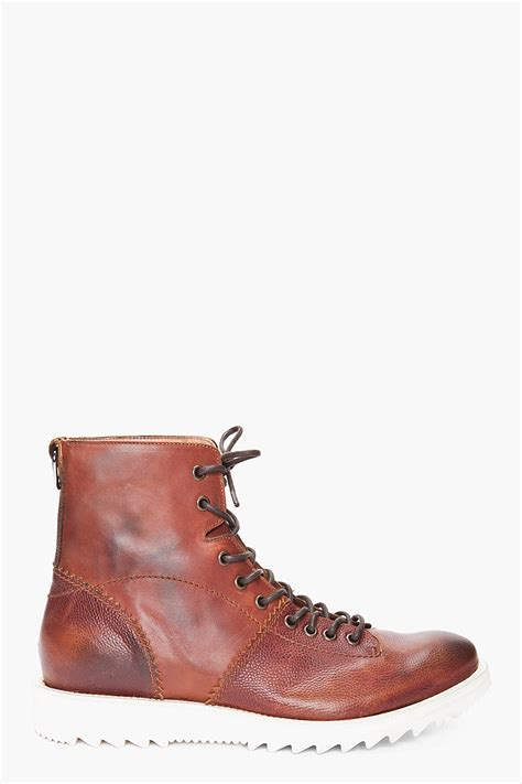 mcqueen boots mcq by mcqueen monkey boots in brown for lyst