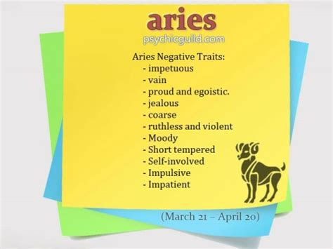 aries negative characteristics aries facts on