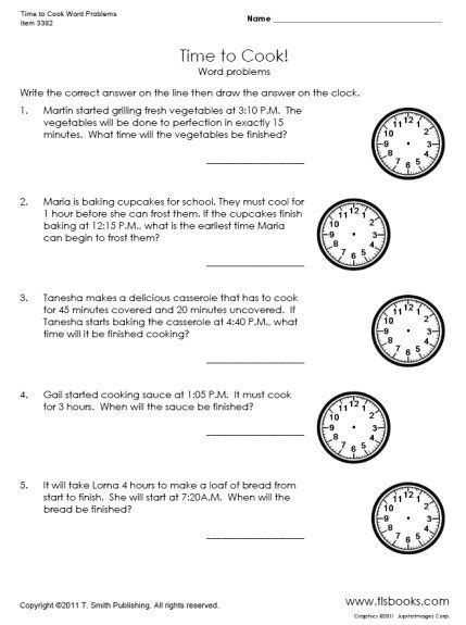 time to cook word problems worksheet learning 2nd