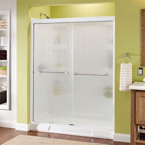 Delta Shower Door Delta Simplicity 60 In X 70 In Semi Framed Sliding Shower Door In White With Niebla Glass And