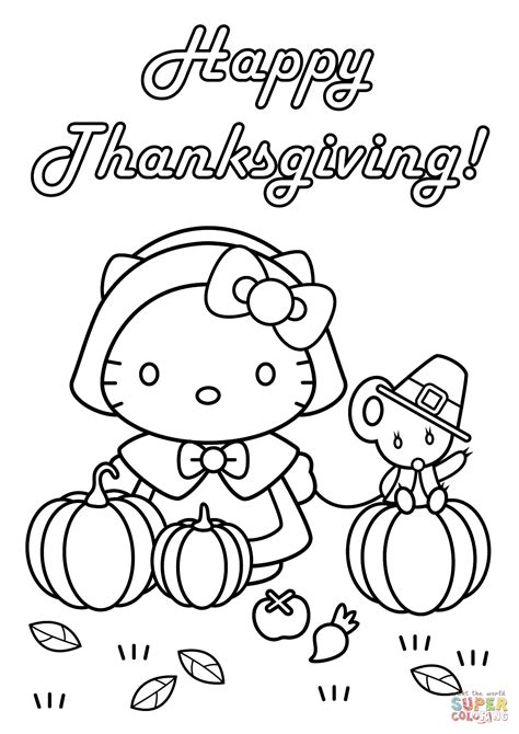 kitty happy thanksgiving coloring page