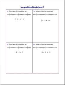 worksheets for inequalities