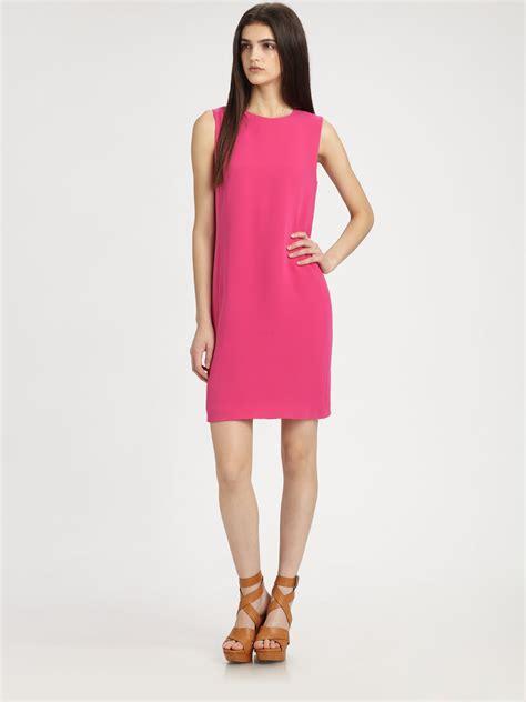 lyst vince sleeveless silk shift dress in pink
