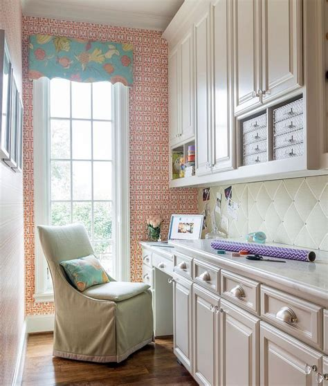 Long Mudroom and Craft Room Combo with Built In Shelving