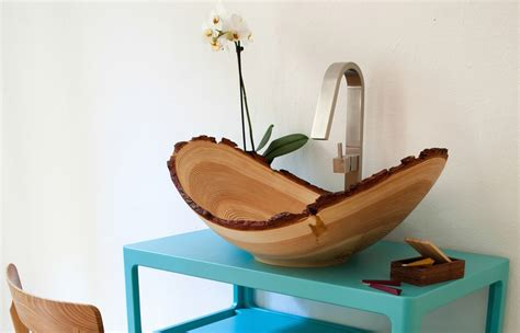 fancy wooden wash bowl by slowwood is sustainably chic
